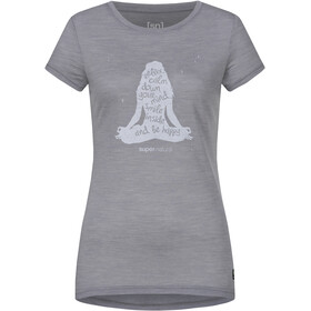 super.natural Printed T-shirt Femme, silver grey melange/light grey calm down